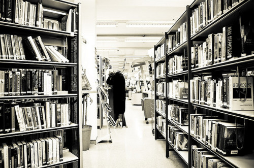 Library books in black and white