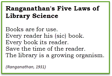 Books are for use. Every reader his/her book. Every book its reader. Save the time of the reader. The library is a growing organism. (Ranganathan, 1931)