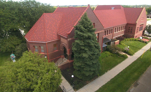 Image Caption/Alt Text: Aerial View of Morton-James Public Library, Morton-James Public Library (CC-BY 4.0)