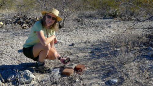 Jennifer uses GPS to find a survey mark in the desert near Tucson, Arizona