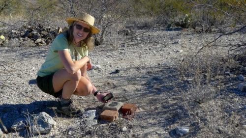 Jennifer uses GPS to find a survey mark in the desert near Tucson, Arizona