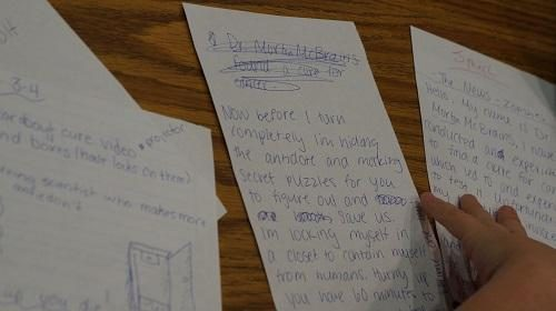 Drafts of the story for the Library Lockdown escape room; Morton-James Public Library (CC-BY 4.0)