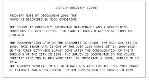 Example 367 NYBE+A: Amateur survey mark hunter provides cross-documentation
